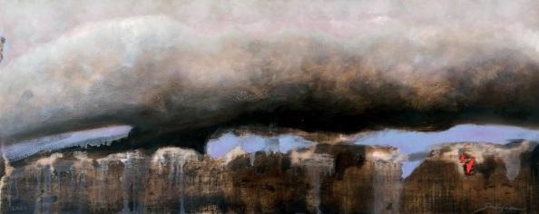 Nuvola. 2010.Olio su tavola cm 36x91
